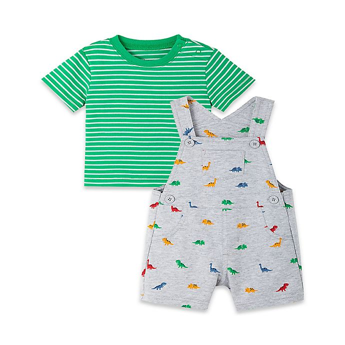 Alternate image 1 for Little Me® 2-Piece Dino Short Sleeve T-Shirt and Shortall Set in Green