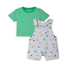 Little Me® Newborn 2-Piece Dino Short Sleeve T-Shirt and Shortall Set in Green