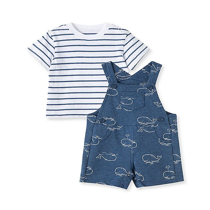 Alternate image 1 for Little Me® 2-Piece Striped T-Shirt and Whale Shortall Set in Denim