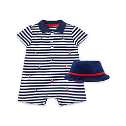 Little Me® 2-Piece Sailboat Short Sleeve Romper and Hat Set in Navy