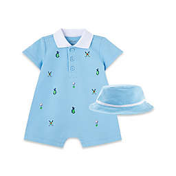 Little Me® Newborn 2-Piece Golf Romper and Hat Set in Light Blue