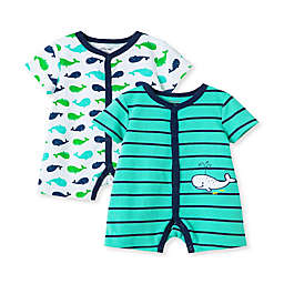 Little Me® Size 3M 2-Pack Whale Rompers in Teal