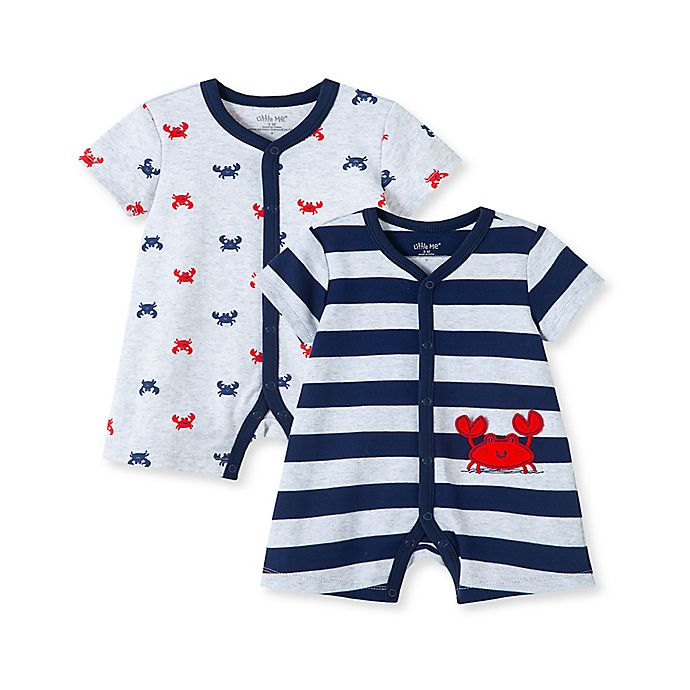 Alternate image 1 for Little Me® 2-Pack Stripe Crab Rompers in Navy