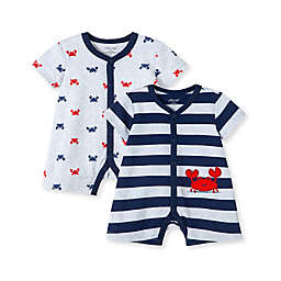 Little Me® Newborn 2-Pack Stripe Crab Rompers in Navy