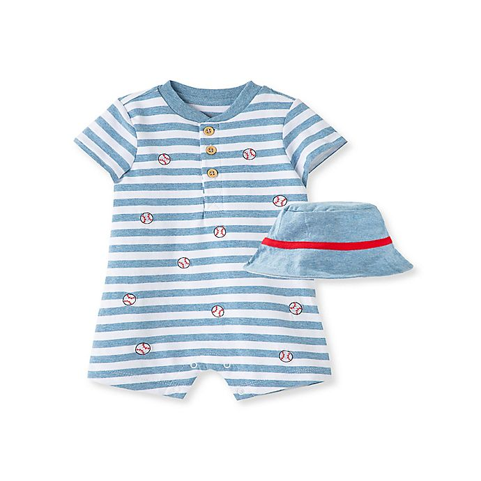 Alternate image 1 for Little Me® Size 9M 2-Piece Baseball Short Sleeve Romper and Hat Set in White/Blue