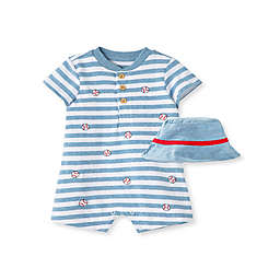 Little Me® Size 3M 2-Piece Baseball Short Sleeve Romper and Hat Set in White/Blue