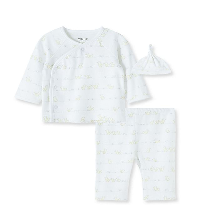Alternate image 1 for Little Me® Size 9M 3-Piece Duck Pond Organic Cotton Long Sleeve Shirt, Pant and Hat Set in White