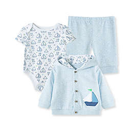 Little Me® 3-Piece Sailboat Cardigan, Bodysuit, and Pant Set in Blue