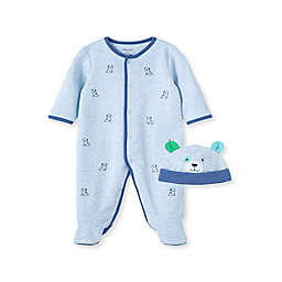 Little Me® 2-Piece Puppies Footie and Hat Set in Blue