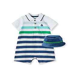 Little Me® Newborn 2-Piece Stripe Sailboat Romper and Hat Set in Blue