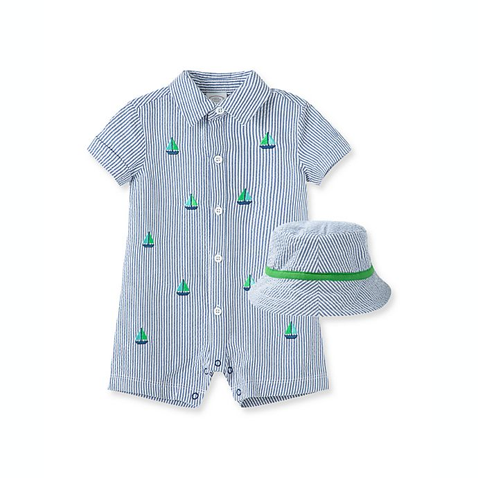 Alternate image 1 for Little Me® 2-Piece Sailboat Seersucker Short Sleeve Romper and Hat Set in Blue