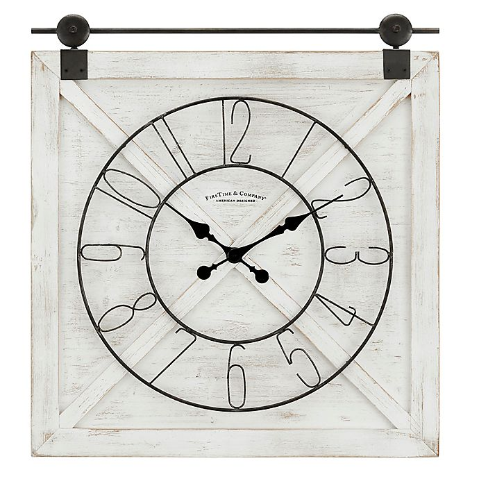 Alternate image 1 for FirsTime® Farmstead Barn Door 29-Inch x 27-Inch Wall Clock in Weathered White Wash