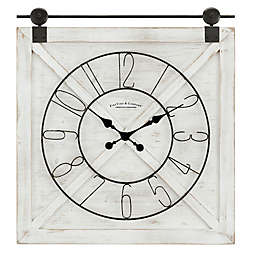 FirsTime® Farmstead Barn Door 29-Inch x 27-Inch Wall Clock in Weathered White Wash
