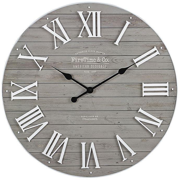 Alternate image 1 for FirsTime® Emmett Shiplap 27-Inch Wall Clock in White/Grey