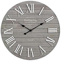 FirsTime® Emmett Shiplap 27-Inch Wall Clock in White/Grey