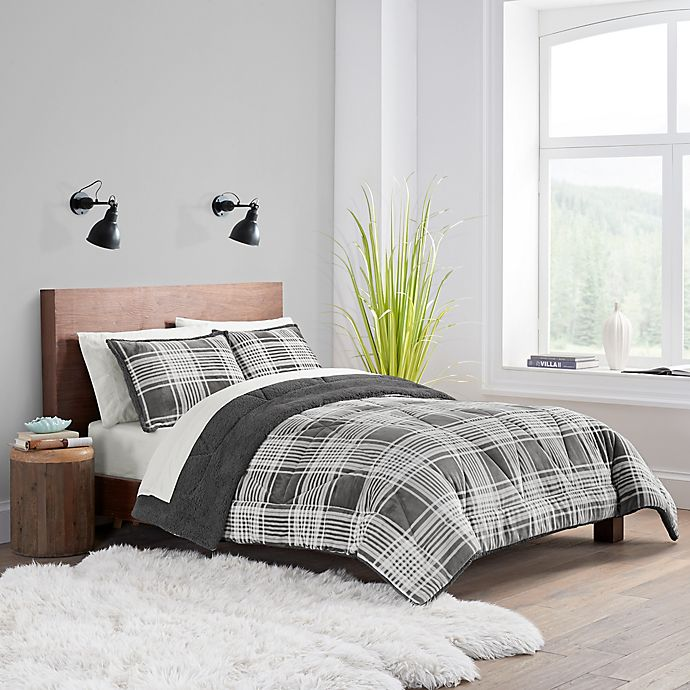 Alternate image 1 for UGG® Avery 2-Piece Reversible Twin/Twin XL Comforter Set in Charcoal Plaid