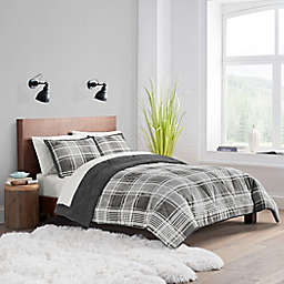 UGG® Avery 2-Piece Reversible Twin/Twin XL Comforter Set in Charcoal Plaid
