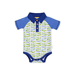 Burt's Bees Baby® Graphic Chevron Organic Cotton Polo Bodysuit in Blue