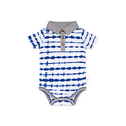 Burt's Bees Baby® Dotted Tie Dye Organic Cotton Polo Bodysuit in Blue/Grey