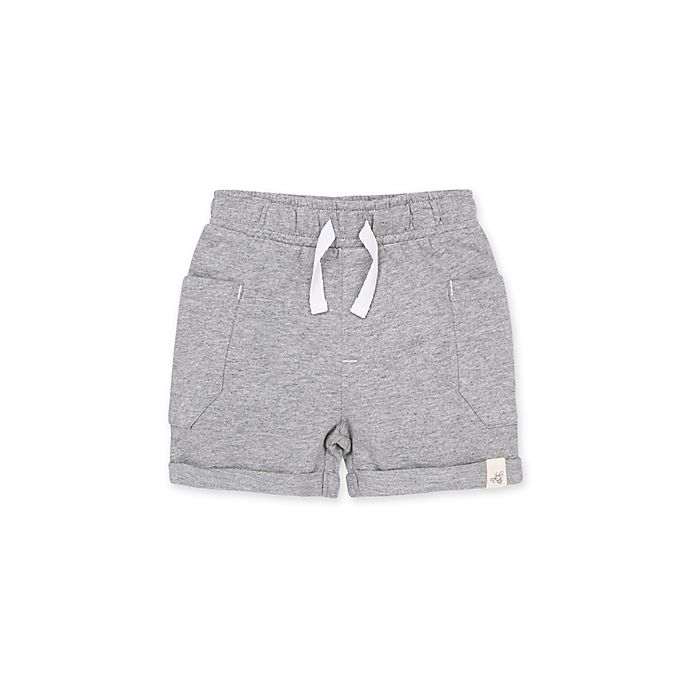 Alternate image 1 for Burt's Bees Baby® French Terry Organic Cotton Rolled Cuff Short in Heather Grey