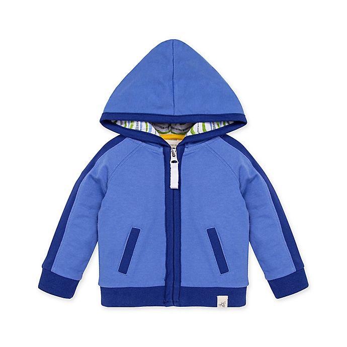 Alternate image 1 for Burt's Bees Baby® French Terry Raglan Organic Cotton Zip Hoodie in Blue