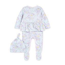 Burt's Bees Baby® Size 0-3M 2-Piece Sunny Orchids Jumpsuit and Knot Top Hat Set