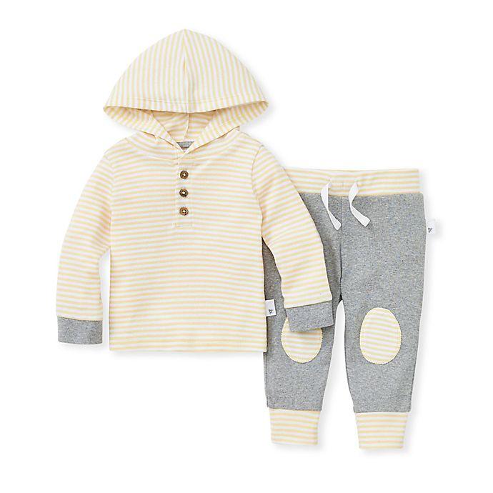 Alternate image 1 for Burt's Bees Baby® 2-Piece Hooded Stripe Tee & Pant Set