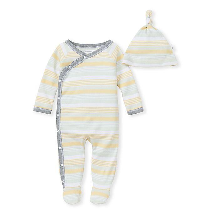 Alternate image 1 for Burt's Bee's Baby® Rain Stripe Jumpsuit & Knot Top Hat Set
