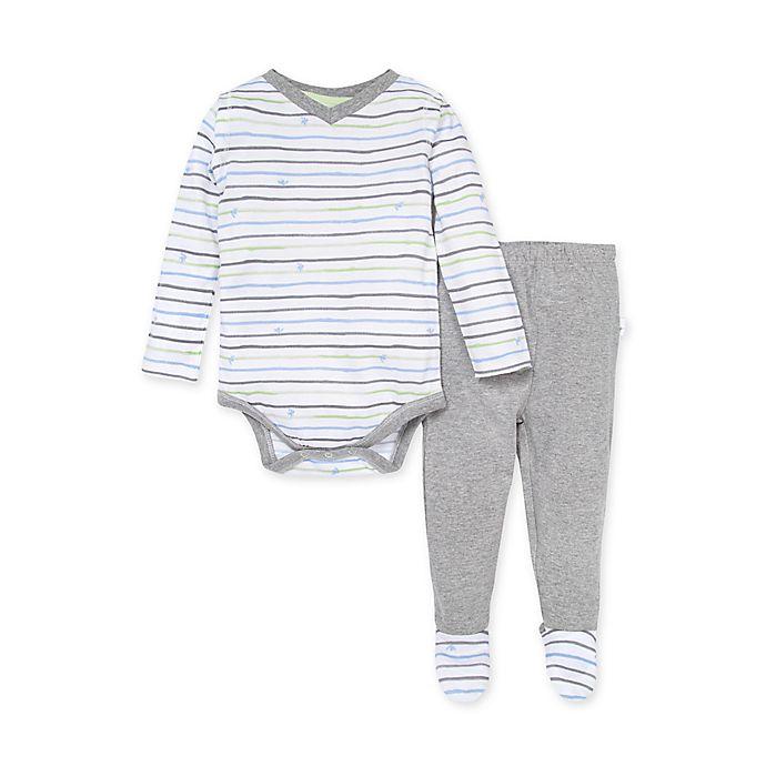Alternate image 1 for Burt's Bee's Baby® Watercolor Bee Stripe Bodysuit & Footed Pant Set