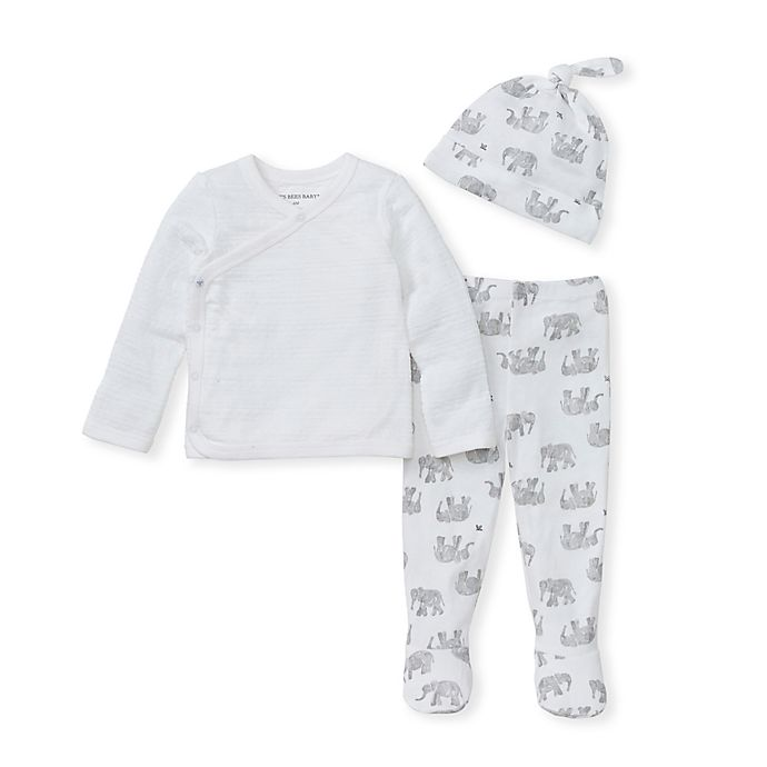 Alternate image 1 for Burt's Bees Baby® 3-Piece Organic Cotton Wandering Elephants Take Me Home Set in Grey