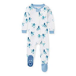 Burt's Bees Baby® Tentacular Organic Cotton Footie Pajama in White/Blue