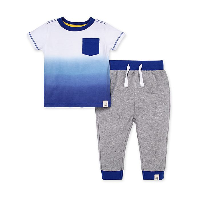 Alternate image 1 for Burt's Bees Baby® Organic Cotton Dip Dye Tee and French Terry Pant Set in Blue