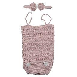 So' Dorable Crochet Size 0-6M 3-Piece Romper Set in Pink