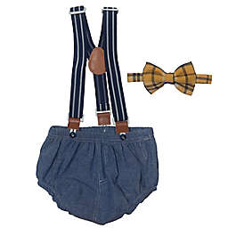 So' Dorable Chambray Bow Tie and Diaper Cover with Suspenders Set
