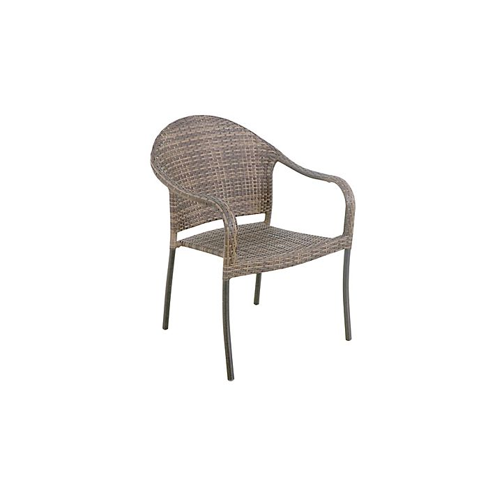 Alternate image 1 for Destination Summer Wicker Stackable Patio Chair in Brown