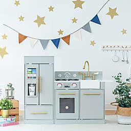 Teamson Kids Little Chef Chelsea Modern Play Kitchen in Silver Grey