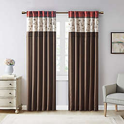 Madison Park Serene Embroidered 84-Inch Window Curtain Panel in Red (Single)