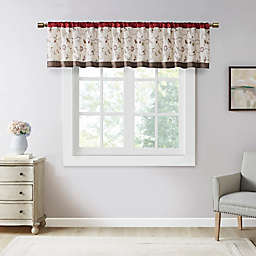 Madison Park Serene Embroidered Window Valance in Red