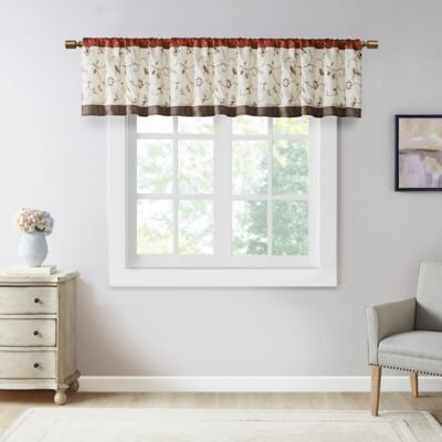 Coral 50x18 Madison Park Dawn Window Valance Tier Set Printed and Pieced Short Drape Rod Pocket Finished Swag for Kitchen or Bathroom