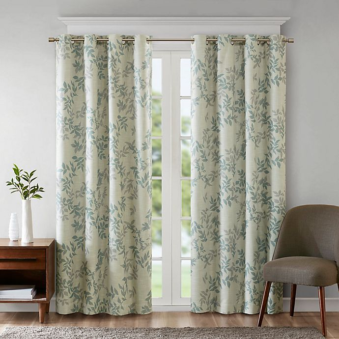 Alternate image 1 for SunSmart Julie Printed Botanical Grommet Top Room Darkening Window Curtain Panel