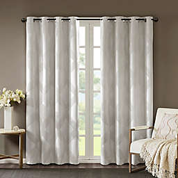 SunSmart Bentley Ogee 84-Inch Knitted Jacquard Grommet Top Blackout Window Curtain Panel in Ivory