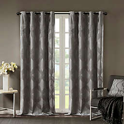 SunSmart Bentley Ogee Knitted Jacquard Grommet Top Blackout Window Curtain Panel Collection