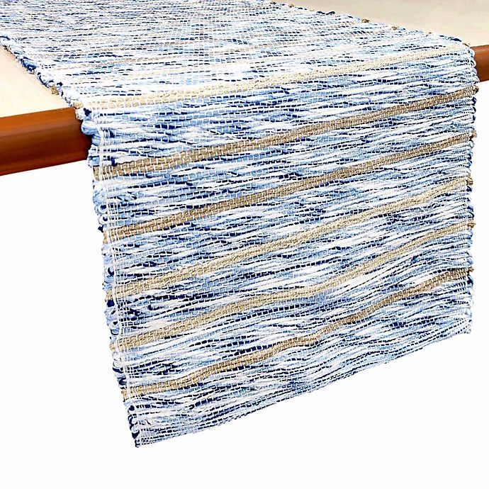 Alternate image 1 for Bee & Willow™ Home 72-Inch Woven Table Runner in Neutral/Blue