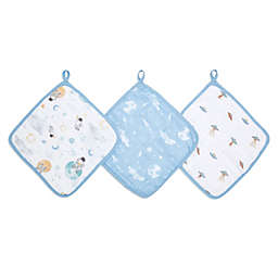 aden + anais™ essentials Space 3-Pack Muslin Washcloths in Blue