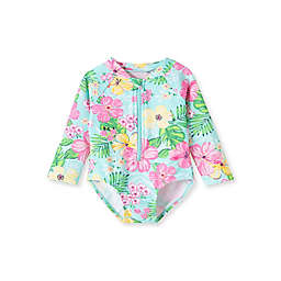 Little Me® 2-Piece Tropical Rashguard Swimsuit and Bucket Hat Set in Pink/Yellow