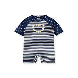 Little Me® Size Rashguard Swimsuit in Navy Stripes with Dots and Heart