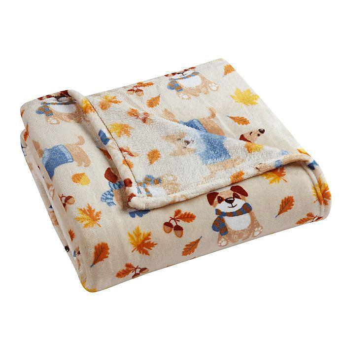 Alternate image 1 for Morgan Home Autumn Fun Dogs Velvet Plush Throw Blanket in Taupe