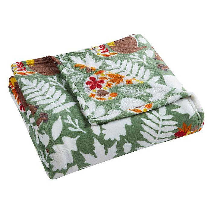 Alternate image 1 for Morgan Home Fall Squirrel Velvet Plush Throw Blanket in Green