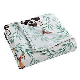 Morgan Home Whimsical Critters Velvet Plush Throw Blanket in Green
