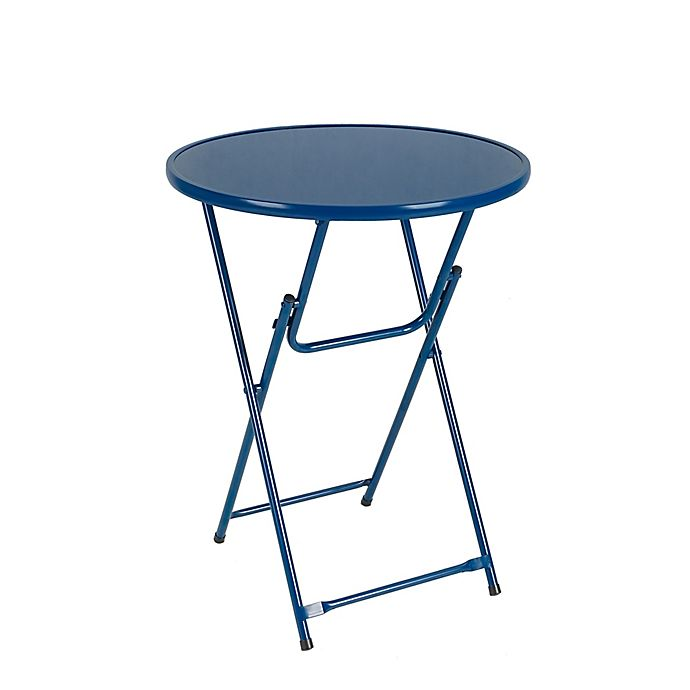 Alternate image 1 for Destination Summer Folding Metal Patio Bistro Table in Navy